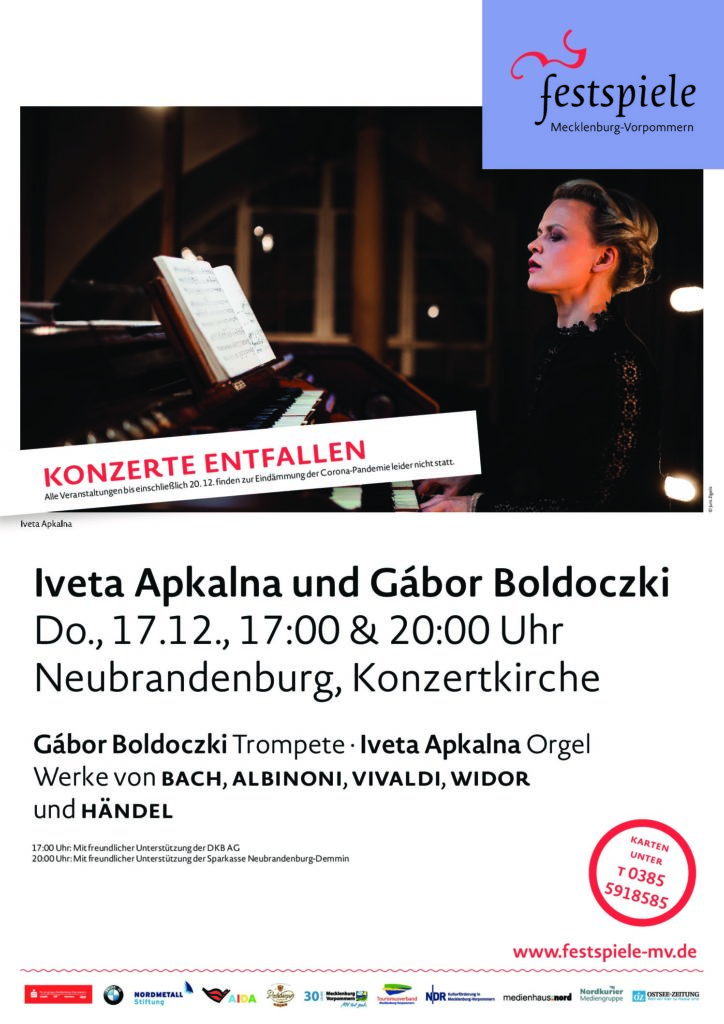 Achtung, Veranstaltungsabsage! Iveta Apkalna und Gábor Boldoczki